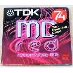 N.1 TDK MINI DISK MD 74 RED BRAND NEW